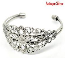 "DoreenBeads Retail Vintage Antique Silver Filigree Flower Bangles Bracelet 16.5cm(6-1/2""),sold per pack of 4"
