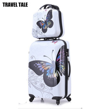 "TRAVEL TALE 20""24""inch hot sales butterfly ABS trolley suitcase rolling luggage set spinner bag on wheel"