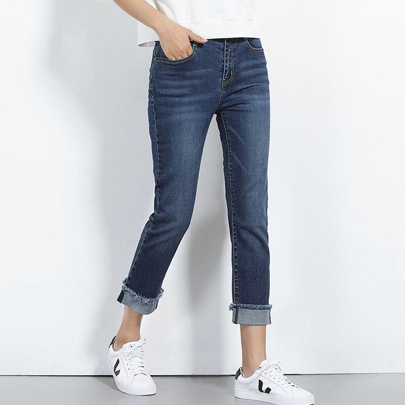 New denim jeans womens Plus size high waist jeans female embroidery straight pants tight-fitting roll-up hem autumn low elasticÎäåæäà è àêñåññóàðû<br><br>