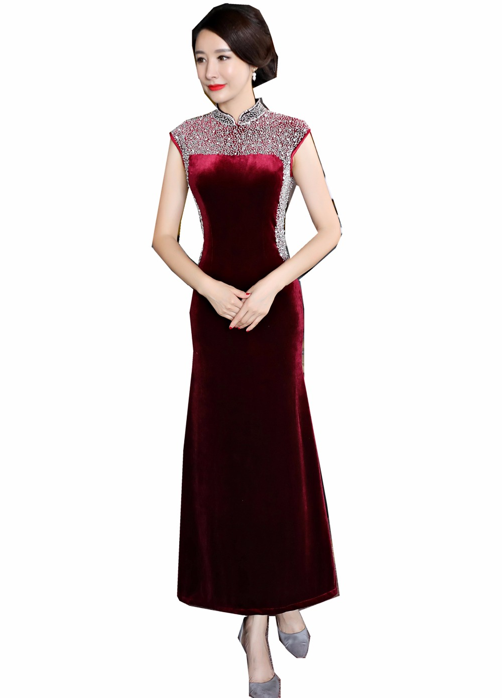 Shanghai Story chinese traditional dress Velvet Long Qipao chinese style Sleeveless Pearl Cheongsam dress Oriental Style Dress