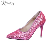 Rimocy sexy hot pink glitter pumps women pointed toe thin high heels gladiator shoes woman fashion slip on party club sandals