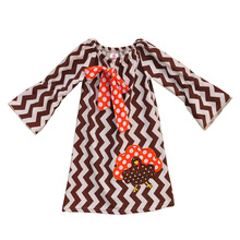 CONICE NINI Brand Thanksgiving Infant Girls Embroidery Dress Chevron Stripes Clothing With Big Bow Boutique Kids Fall Dress T012(China)