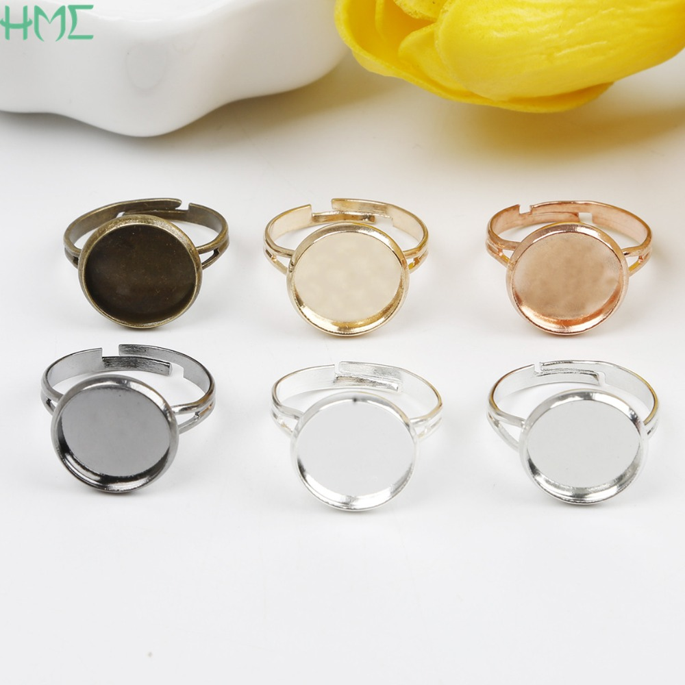 10pcs//Lot Adjustable Brass DIY Craft Blank Ring Bezel Base for 25mm Cabochon