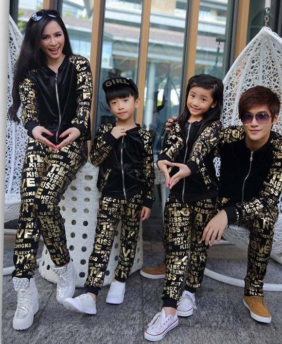 Autumn Winter Family Matching Outfits Active Pants Sets Of Mother And Daughter Long Sleeve Clothes Family Look Family clothing<br>