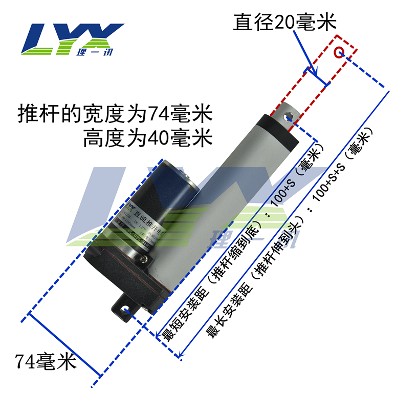 LX758 DC12V /24V  100MM  stroke windows Electric linear actuator, DC motor,Care bed motor<br>