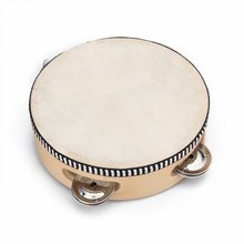 "Children's toy tambourine with wood with 6 "" Leather"