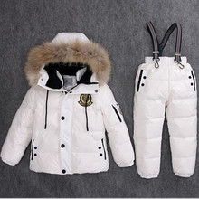 Super Warm Children Winter Suits Boys Girl Duck Down Jacket + Bib Pants 2 pcs Clothing Set Thermal Kids Snow Wear Top Quality(China)