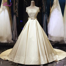 Buy Fmogl Graceful Appliques Boat Neck A-Line Wedding Dresses 2018 Delicate Lace Beaded Pearls Princess Bridal Gown Vestido de Noiva for $311.99 in AliExpress store