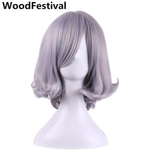 WoodFestival ombre grey short bob straight hair gray wig cosplay women synthetic wigs with bangs heat resistant