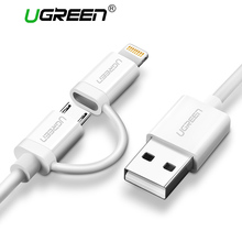 Ugreen 2 in 1 USB Cable for iPhone 7 6 MFi Lightning to Micro USB Cable Fast Charging Data Cable for Samsung Mobile Phone Cable(China)