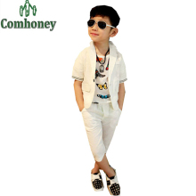 Wedding Suits for Baby Boys Kids Tuxedo Blazer Jacket Clothes Child White Coat Shirt Casual Hip Hop Clothing Children Summer Set