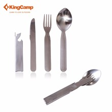 KingCamp Portable Stainless Steel 3 in 1 Outdoor Flatware Set- Spoon Fork & Knife Camping & Hiking picnic tableware