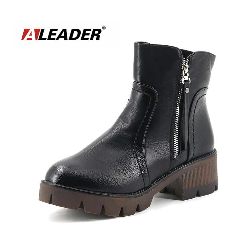 Aleader Thick High Heels Women Boots Winter Warm Shoes Women Sexy Zipper Ankle Boots Leather Fashion Women Short Boots mujer<br>