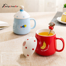 1Pcs Cartoon Animal Mugs Hand Painting Retro Ceramic Cup Coffee Milk Tea Mug Drinkware Novetly Gifts Couples Cup(China)