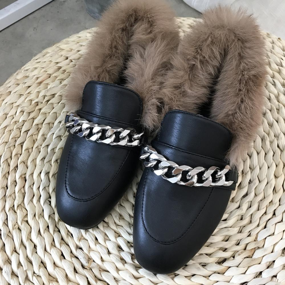Women Winter Chain Fur Loafers Real Rabbit Furry Slipony Shoes Mental Chains Slip On Moccasins Ladies Flats Loafer Size 35-41<br>