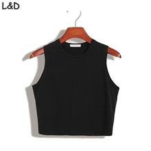Fitness Skinny Crop Top 2017 New Women Tight Bustier Crop Top Skinny T-Shirt Belly Casual Dance Tops Vest Tank Tops(China)