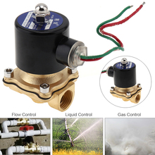 "1/2"" AC 220V Brass Electric Solenoid Valve Pneumatic Valve for Water / Oil / Gas(China)"