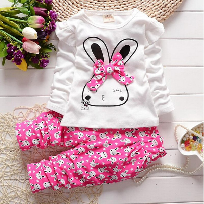 Kids Clothes Set Autumn/Winter Infant Baby Girl Casual Long Sleeve Cartoon Rabbit Bowknot Set Girls Clothing<br><br>Aliexpress