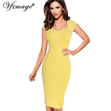 Vfemage Womens Sexy Elegant Summer Floral Flower Lace Cap Sleeve Slim Casual Party Fitted Sheath Bodycon Dress 2056(China)