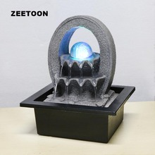 110V-220V Zen Style Tabletop Mini Water Fountain LED Crystal Ball Air Humidifier Feng Shui Living Ornaments Lucky Home Decor New(China)