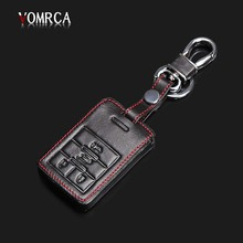 Genuine Leather Keychain Keychain Holder Case for Cadillac CTS ATS 28T CTS-V Coupe SRX Escalade Key 4 Button Remote Control