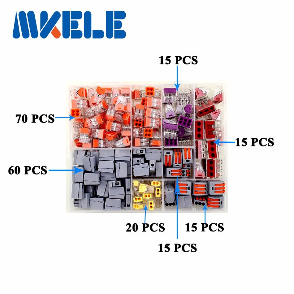 210PCS Wire Connector for 5 room mixed 7 models Compact Fast wire connector mini Wiring Connector Conductors Terminal Block wago<br>