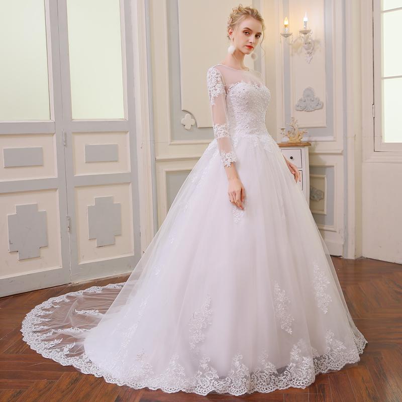 Wedding Dress Vintage Bohemian Lace Long Sleeve Ball Gown Wedding Dresses 2017 Luxury Pearls White Bridal Dress Vestido De Noiva 1