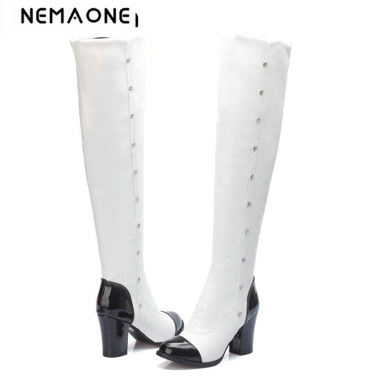 Womens High heel Boots Over the Knee 2018 Autumn winter Boot Square Heel Shoes mixed colors Women casual Boots large size 34-43<br>
