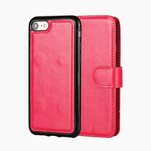 Newest! Fashion Crazy horse Pattern Leather Wallet Case For iPhone 7 Cell Phone combination Flip Cover / Oil Skin With Clasp(China)