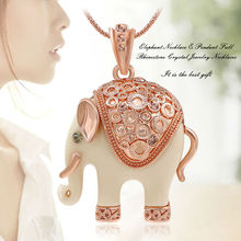 Sexy Elephant Necklace & Pendants for Woman Full Rhinestone Crystal Jewelry Necklaces,15""
