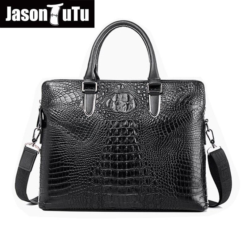 100% guarantee Genuine Leather Handbag Men Bag high quality Alligator Business briefcase Vintage Crossbody Shoulder Bag HN156<br>