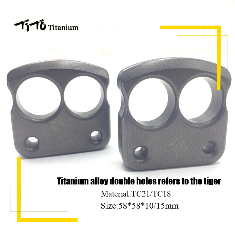 TiTo titanium alloy double holes refers to the tiger EDC Self - Defense Tools Multi-function key ring multipurpose keychain<br>