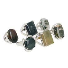 Wholesale Lots 5pcs Tibet Silver Assorted Big Natural  Stone Rings for Women Girl Vintage Finger Jewelry