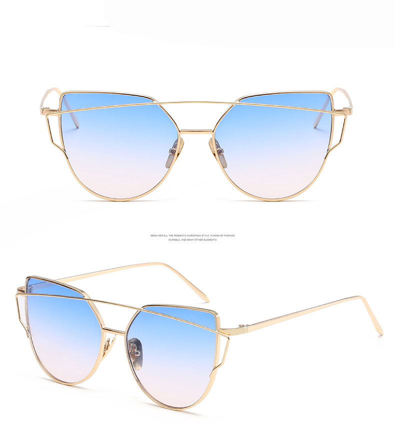 2017 Brand Retro Cat Eye Sunglasses Women Vintage Fashion Rose Gold Mirror Eye Glasses Unique Flat Ladies Eyewear Oculos UV400 29