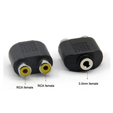 Double RCA/AV plug to 3.5mm stereo jack convertor adapters female to female wire connector for speaker DVD transmitter