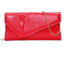Brand Design Fashion Pu leather Women envelope bag Handbags clutch Crocodile Head Pattern female messenger bags wristlet Red(China)