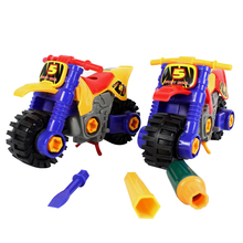 Creativity Assembled Toys DIY Disassembled Motorcycle Model Kids Children's Educational Diecast Toy With Screwdriver(China)