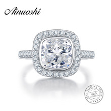 AINUOSHI 3 Carat Brilliant Cushion Cut NSCD Engagement Big Ring Genuine 925 Sterling Silver Rings for Women Anniversary Gift
