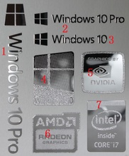 Silver metal label laptop stickers LOGO  Radeon Graphics Sticker 1pieces I7 nvidia win-10