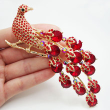 Vintage Red Peacock Bird Gold Tone Brooch Pin Rhinestone Crystal Party Jewelry