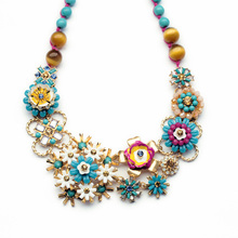 xl01015 2014 New Arrival Factory Sale Blue Flower Bead Chain Vacation Beautiful Pendant Necklace