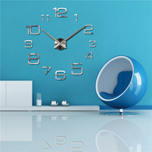 2016 new quartz watch wall clock acrylic mirror 3d clocks horloge murale reloj pared digital Living Room Europe free shipping