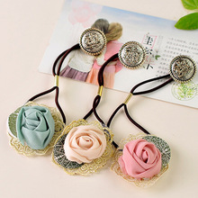 3pcs Selling Ornaments Shop Jewelry Rose Lace Hair Rope Ring Wholesale Girls Hair Accessories Cute headwear