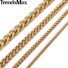 Trendsmax 3/3.5/6/9.5mm Gold-color Wheat Braided Link Stainless Steel Necklace Mens Chain KNM136