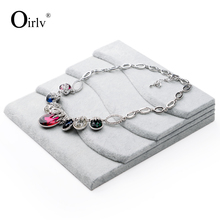 Oirlv free shipping gray velvet jewellery shop display for ring earrings necklace bangle and bracelet exhibitor organizer