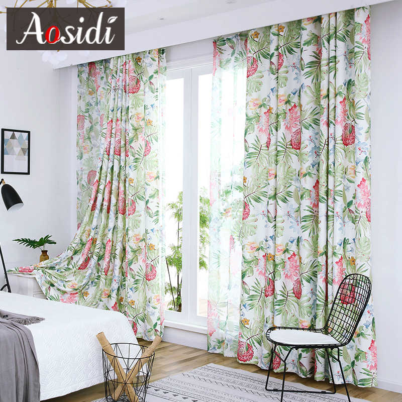 Green plant window curtains for Living Room Bedroom Flower Sheer tulle and curtain printing bluckout curtains Shading 70% Custom