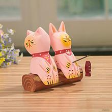 Pink kitten fishing wooden Double cat desktop shelf bookshelf place Wedding Home Decoration Nautical Zakka 15*5*13cm