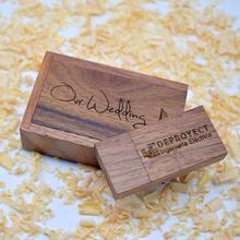 50PCS/lot Custom Logo Gifts Wooden USB Flash Drive 8GB USB 2.0 Flash Disk Pen Drive Walnut Box