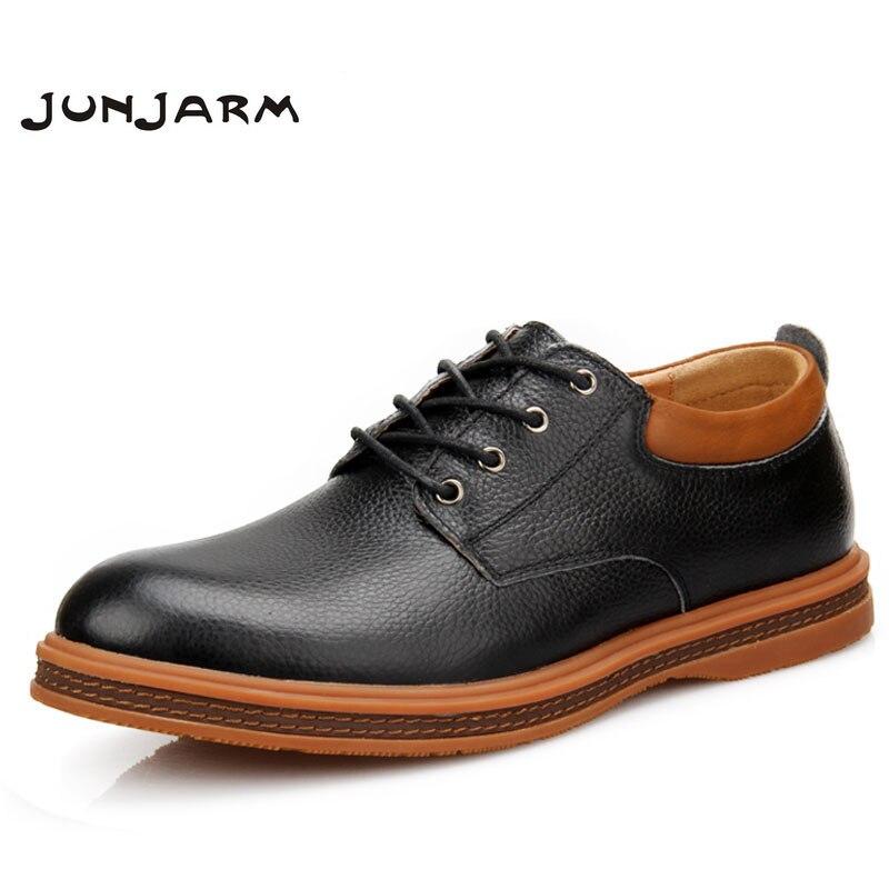 JUNJARM 2017 Handmade Men Flat Shoes Split Leather Men Oxfords Shoes Breathable Lace-up British Style Business Leather Shoes<br>