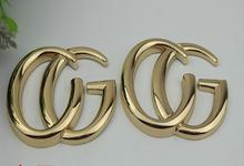 (10 PCS/lot) golden hardware big letters on leather decorative buckle handbags hardware accessories